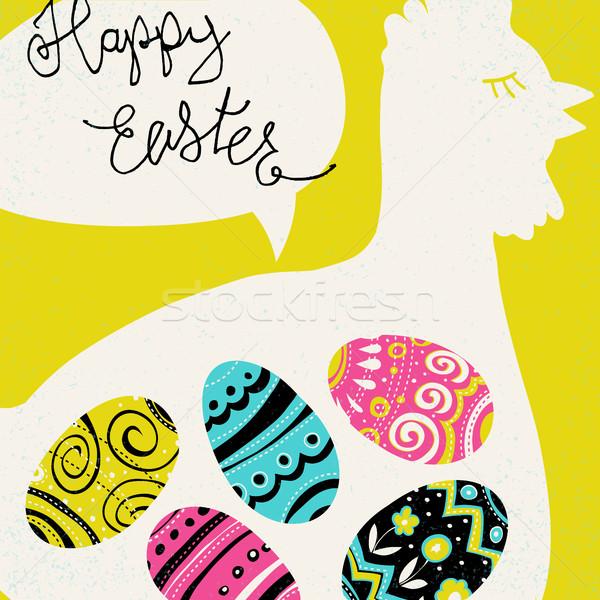 Kellemes húsvétot üdvözlet fényes tojások tyúk sziluett Stock fotó © pashabo