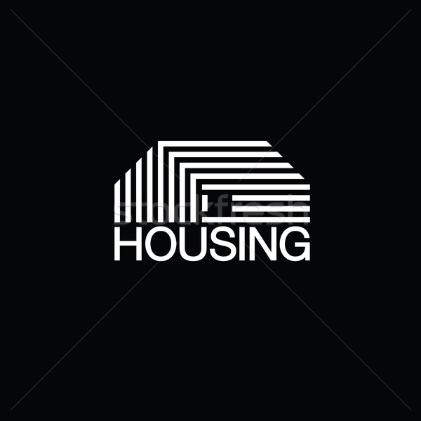 Mono line house logo. Monochromatic vector logotype. On black ba Stock photo © pashabo