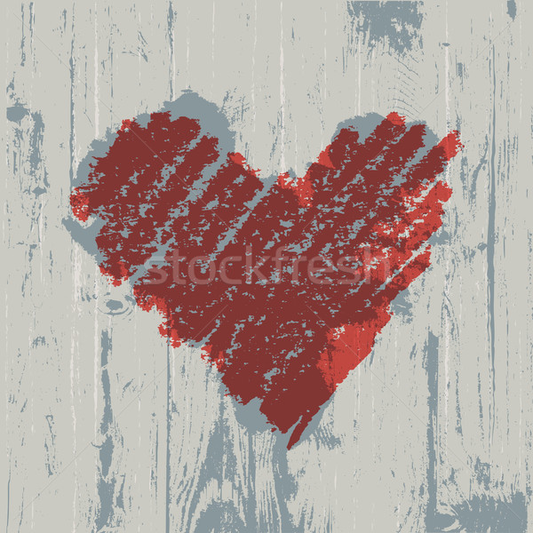 Heart symbol on wooden texture, abstract background. Stock photo © pashabo
