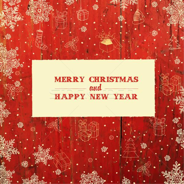 Retro Styled Christmas Card Design. Vector. Stock photo © pashabo