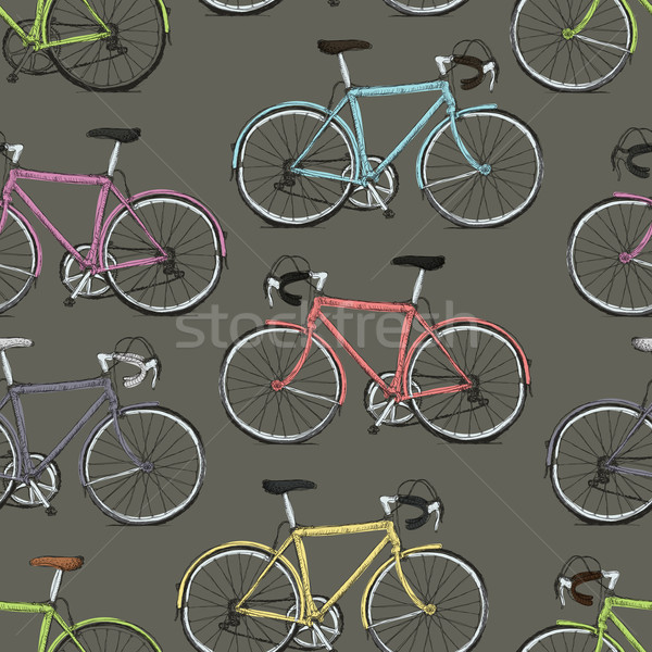 Vintage Multi-Colored Bicycles Seamless Pattern Stock photo © pashabo