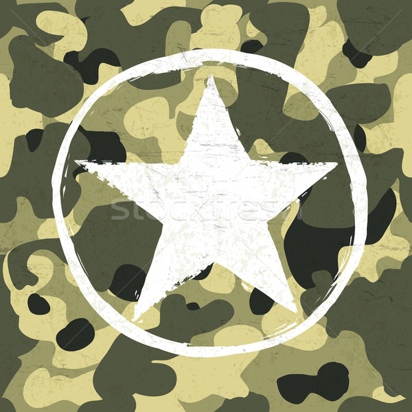 Military star on camouflage pattern Stock photo © pashabo