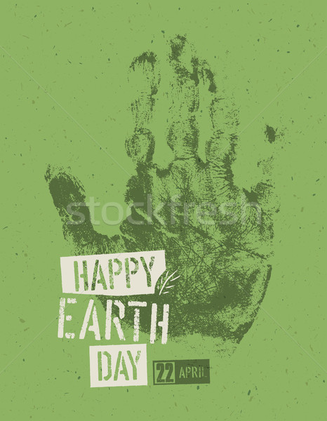 Feliz dia da terra cartaz simbólico reciclado textura do papel Foto stock © pashabo