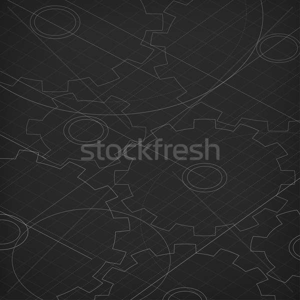 Blueprint of cogwheels. Technology abstract background. Black ba Stock photo © pashabo