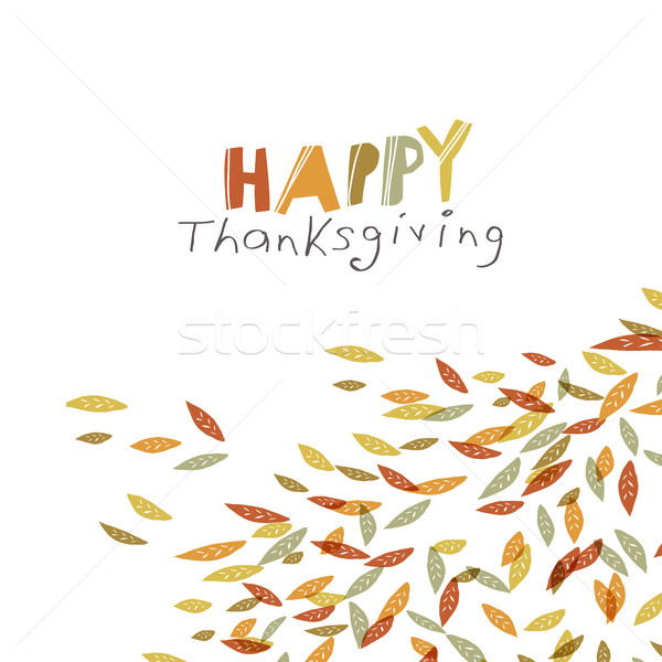 Happy Thanksgiving greeting card design. Logo and fallen trees.  Stock photo © pashabo