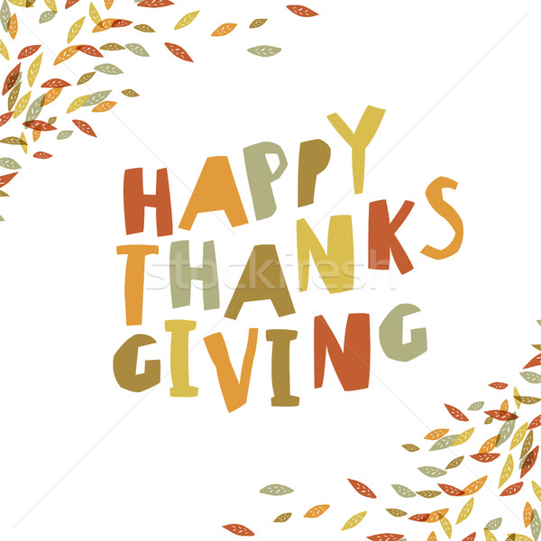 Happy Thanksgiving card design. Paper Cut Letters and fallen lea Stock photo © pashabo