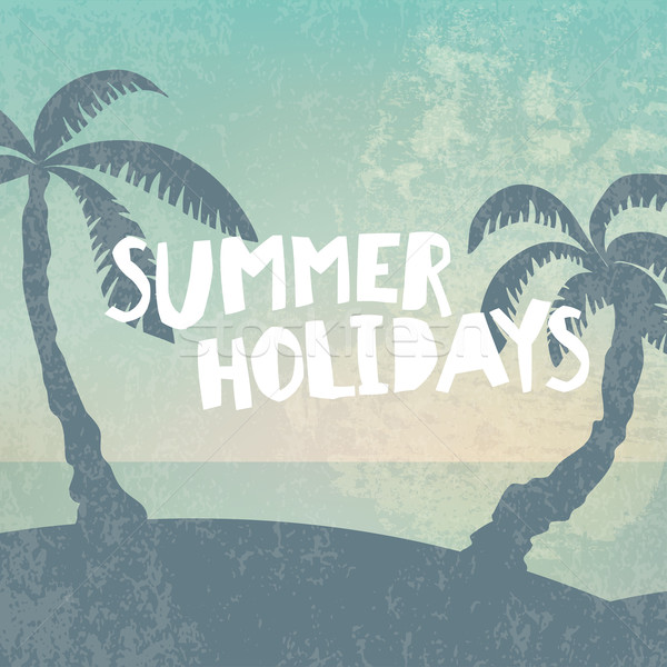 Phrase 'Summer Holidays' on grunge background with palm silhouet Stock photo © pashabo