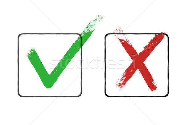 Grunge checkmarks in checkbox. Red and green. Vector clipart Stock photo © pashabo