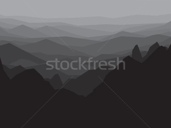 Hegy monokróm tájkép absztrakt hegymászás utazó Stock fotó © pashabo