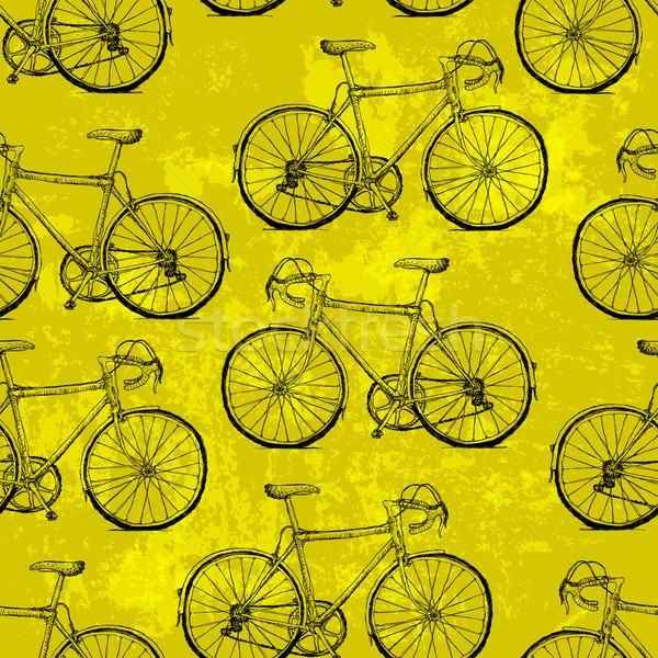Hand-drawn Bicycles Seamless Pattern on Yellow Background Stock photo © pashabo