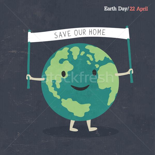 Earth Day Poster. Earth Cartoon Illustration. On dark grunge tex Stock photo © pashabo