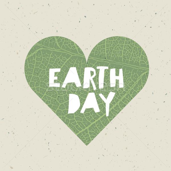 формы сердца зеленый лист вены текстуры природы шаблон Сток-фото © pashabo