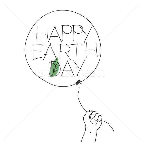 Gyermek tart fonál léggömb boldog Föld Stock fotó © pashabo