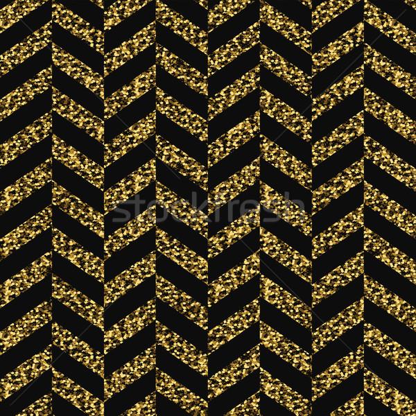 Seamless chevron pattern. Glittering golden surface. Black and g Stock photo © pashabo