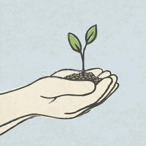 Сток-фото: рук · зеленый · грязи · куча · вектора