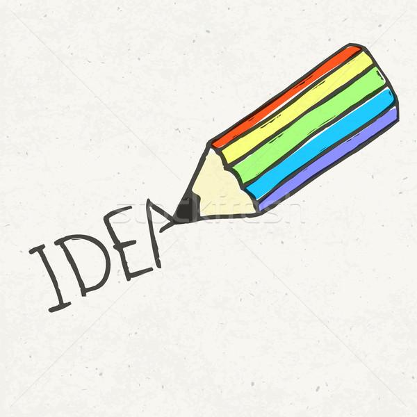 Сток-фото: карандашом · Идея · слово · иллюстрация · eps10 · бумаги