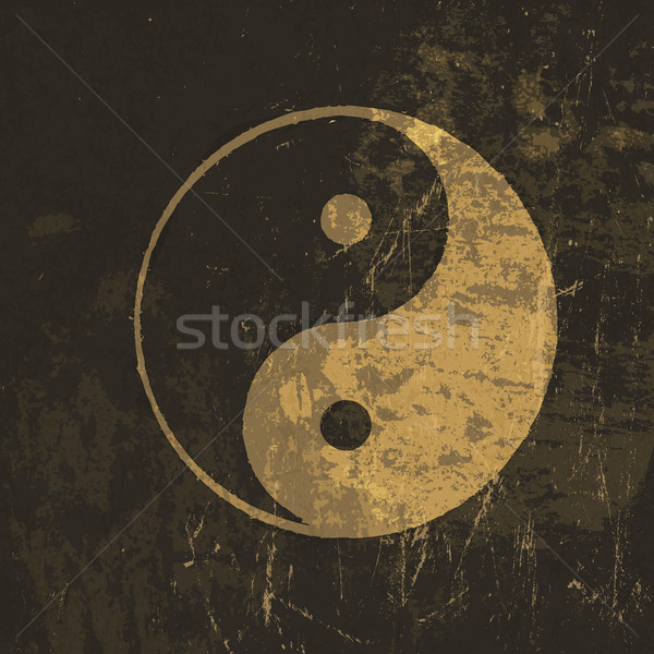 Yin yang grunge icon. With stained texture, vector Stock photo © pashabo