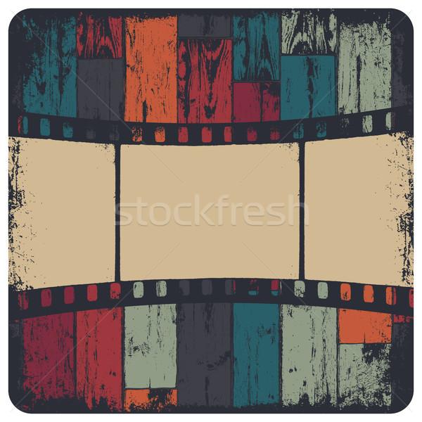 Stockfoto: Filmstrip · grunge · frame · kleurrijk · naadloos · houten