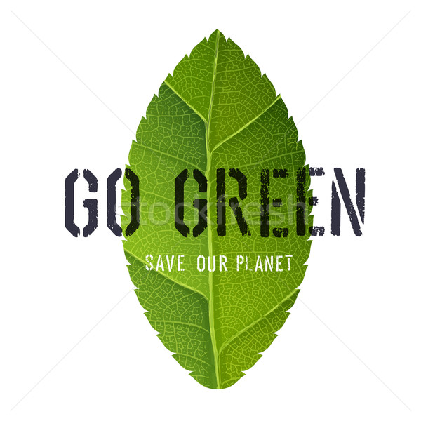 Go Green Poster with Leaf Symbol Stock photo © pashabo