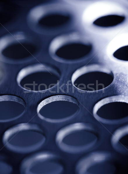 Stock photo: Steel metal background, blue toned.
