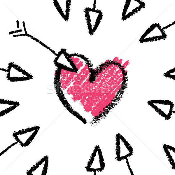 Stock photo: Valentines day concept illustration, arrows and heart. Vector.