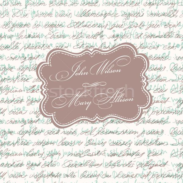 Düğün davetiyesi bağbozumu kart vektör eps10 düğün Stok fotoğraf © pashabo