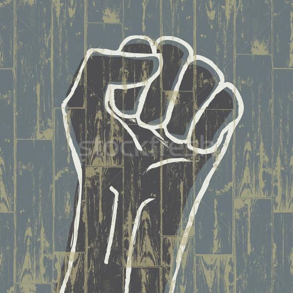 Fist - revolution symbol. Grunge, EPS10. Stock photo © pashabo