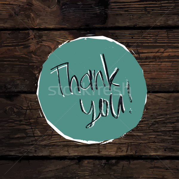 Thank You Card On Hardwood Texture. Vector Stock photo © pashabo