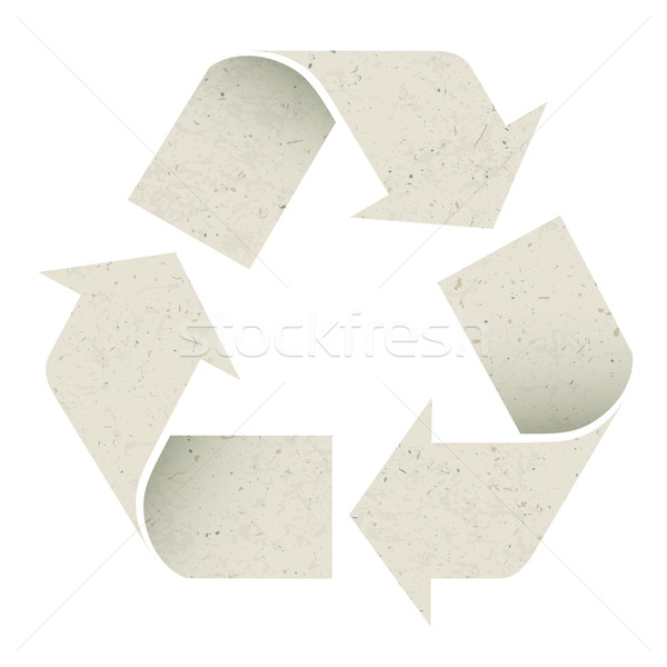 Reuse Symbol. Made from recycle paper texture, vector, EPS10, is Stock photo © pashabo