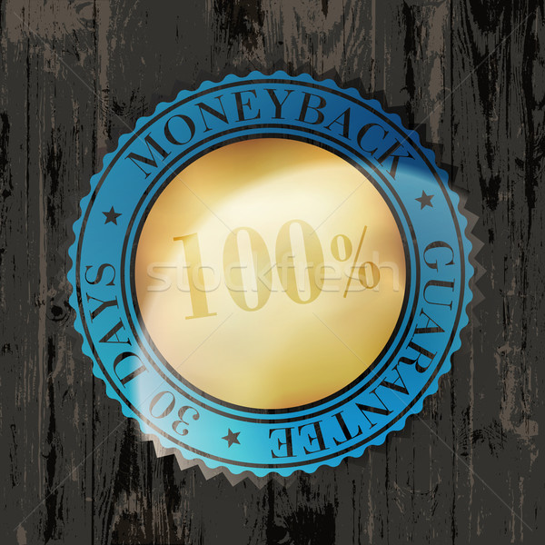 Moneyback Guaranteed Label with Gold Badge Sign on Wooden Textur Stock photo © pashabo