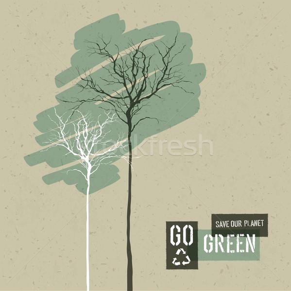 Save Nature Concept Illustration. Trees on Cardboard Realistic B Stock photo © pashabo