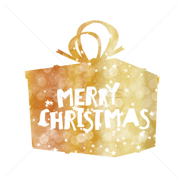 Merry Christmas Golden Gift Box. Stars and Snowflakes. Isolated  Stock photo © pashabo