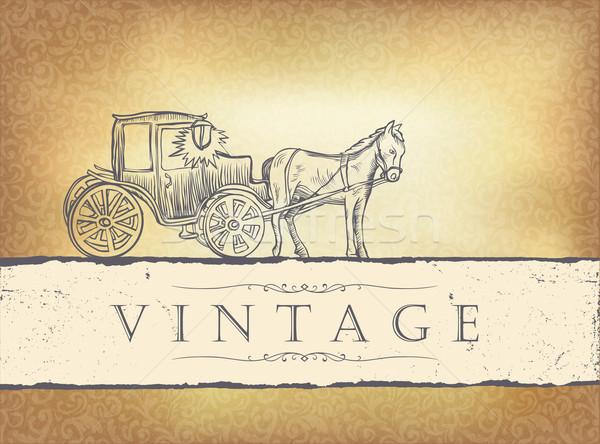 Dorado vintage invitación de la boda eps10 textura caballo Foto stock © pashabo