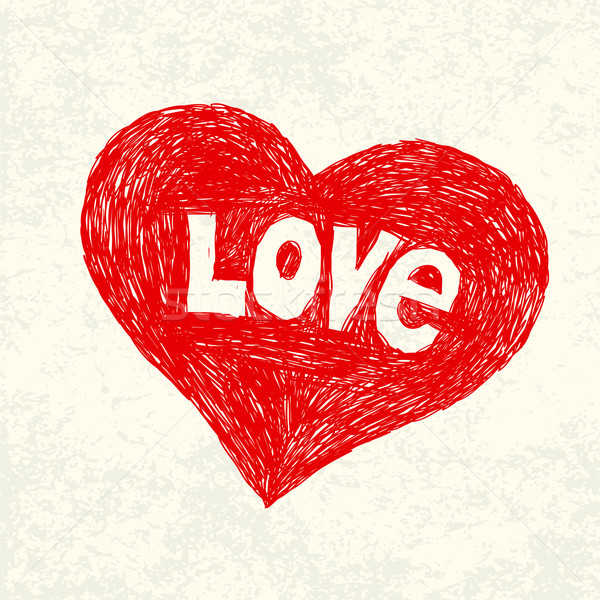 Heart symbol with love word on old paper. Vector illustration, E Stock photo © pashabo