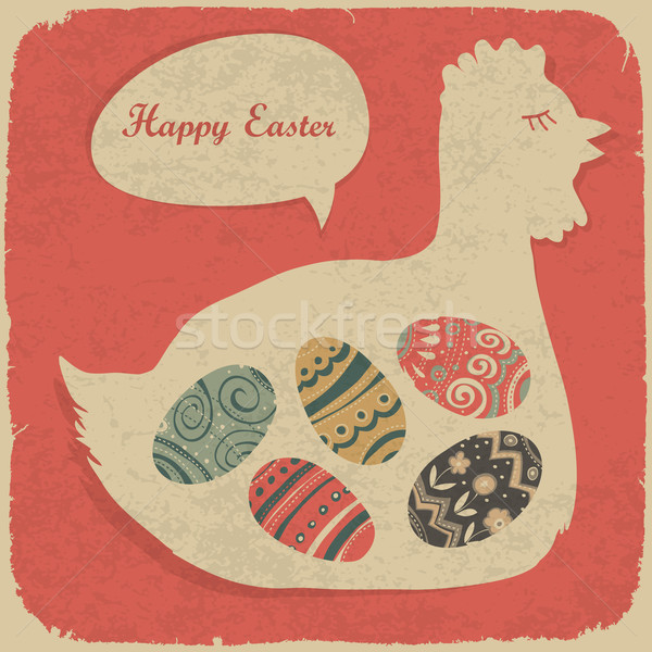 Easter eggs and chiken. Retro styled illustration. Stock photo © pashabo