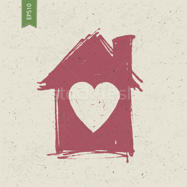 House sign with heart on paper texture. Vector, EPS10 Stock photo © pashabo