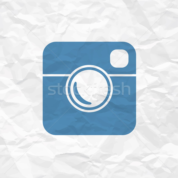 Hipster Photo Icon on Crumpled Paper Texture Stock photo © pashabo