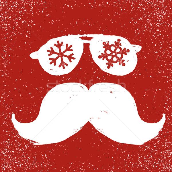Santa vintage sunglasses and moustache. With snowflake reflectio Stock photo © pashabo