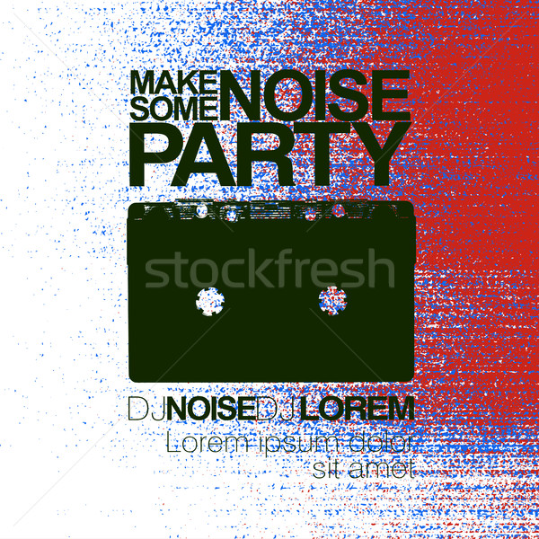 Make some noise. Night Party flyer. Red and blue. No signal back Stock photo © pashabo