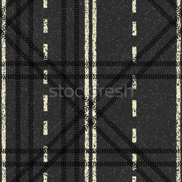 Stockfoto: Naadloos · weg · patroon · vector · eps8 · auto