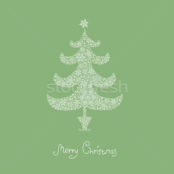 Noel ağacı kar taneleri vektör eps8 arka plan kış Stok fotoğraf © pashabo