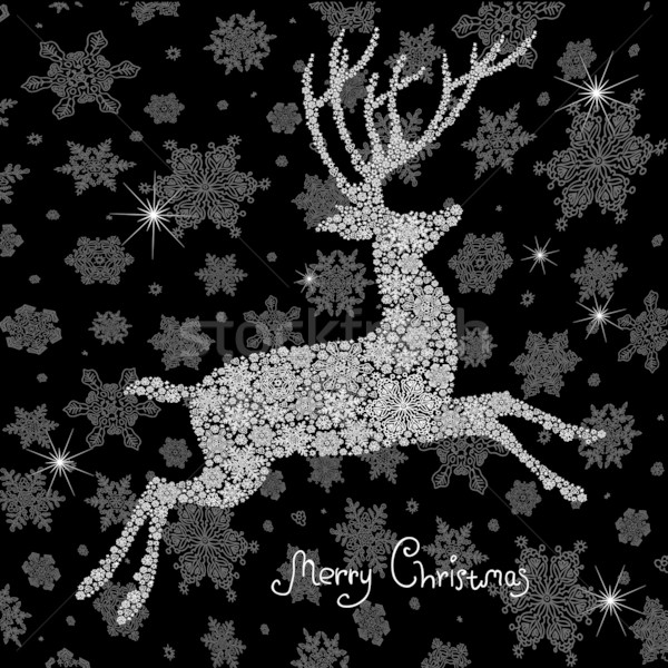 Christmas deer silhouette. Vector illustration, EPS8 Stock photo © pashabo