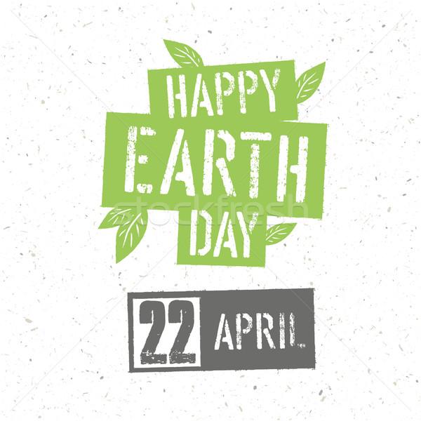 Tipográfiai terv föld napja poszter zöld zöld levelek Stock fotó © pashabo