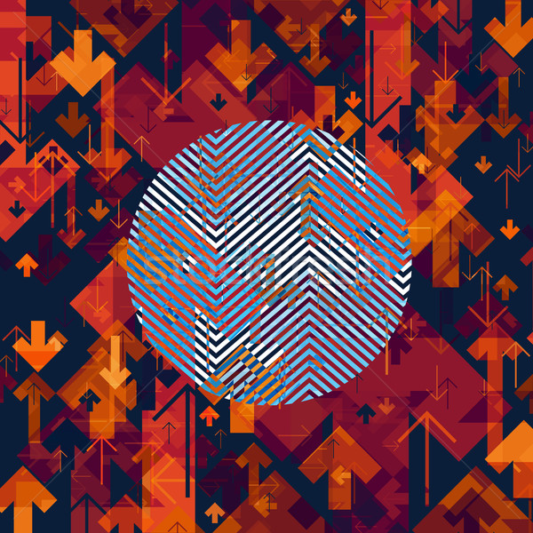 Arrows Chaotic Abstract Background with Circle Shape in Center. Stock photo © pashabo