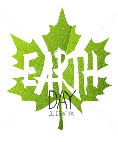 Happy Earth Day Poster. Green leaf. Leaf texture background Stock photo © pashabo