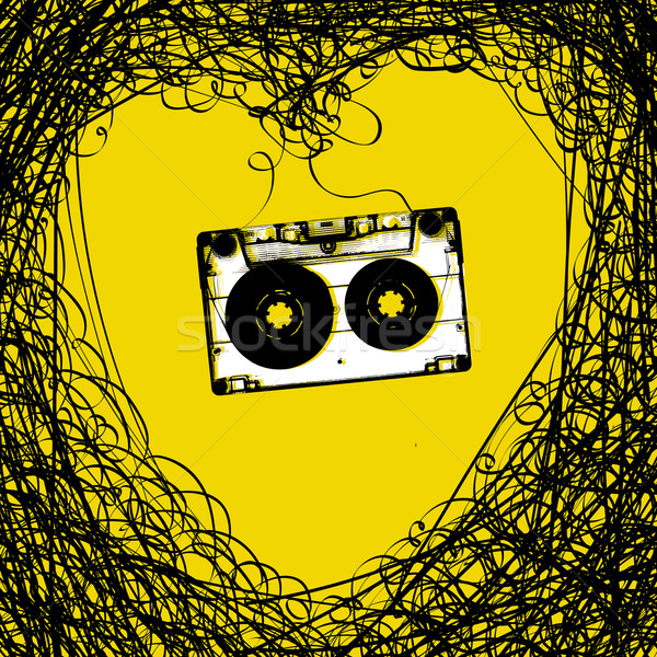 Concept illustration. Retro music background. Heart from tape an Stock photo © pashabo