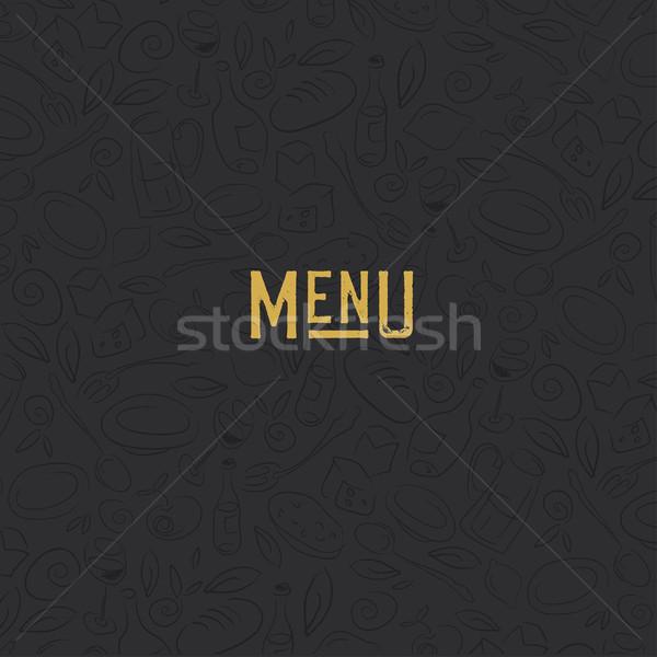 Menu design template. Restaurant Seamless Pattern. Gold and Blac Stock photo © pashabo