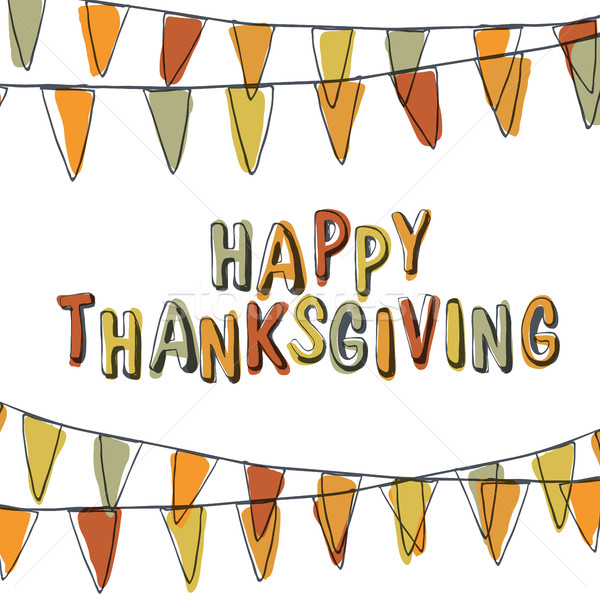Happy Thanksgiving Postcard. Holiday Pennant Bunting. Hand drawn Stock photo © pashabo