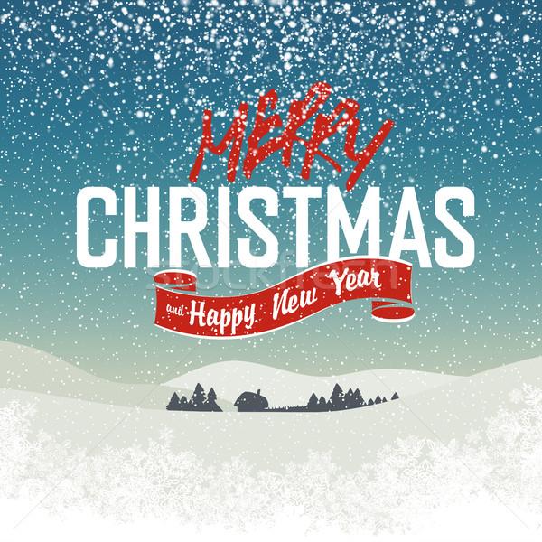 merry_christmas_postcard_xmas_village Stock photo © pashabo