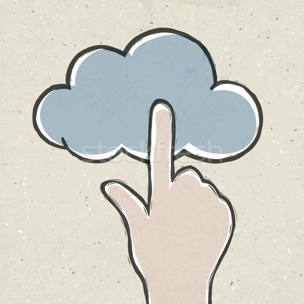Сток-фото: стороны · облако · значок · eps10 · бумаги · текстуры · человека